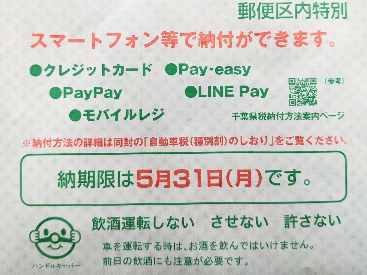 千葉県民の皆さん!自動車税はおうちからスマホで電子マネー納付ができますよ!《PayPay・LINE Payなど》